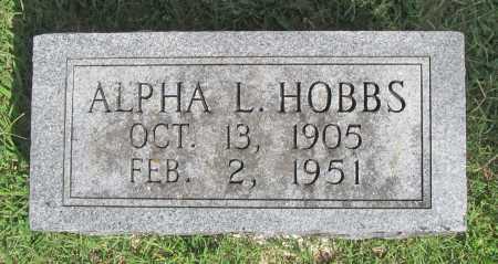 HOBBS, ALPHA L. - Benton County, Arkansas   ALPHA L. HOBBS - Arkansas Gravestone Photos
