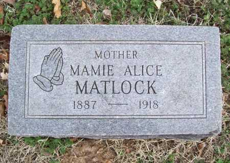 MATLOCK, MAMIE ALICE - Benton County, Arkansas | MAMIE ALICE MATLOCK - Arkansas Gravestone Photos