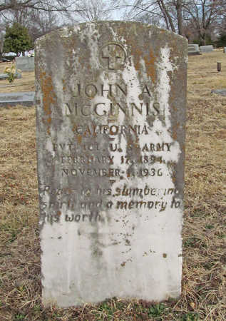 MCGINNIS (VETERAN), JOHN A - Benton County, Arkansas | JOHN A MCGINNIS (VETERAN) - Arkansas Gravestone Photos