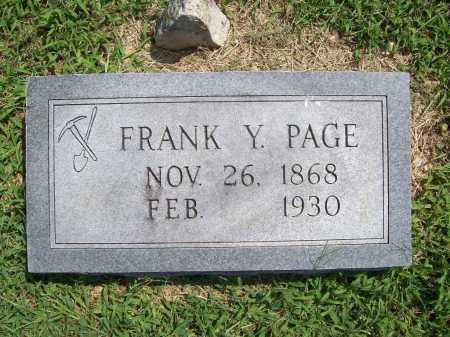 PAGE, FRANK Y. - Benton County, Arkansas | FRANK Y. PAGE - Arkansas Gravestone Photos