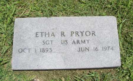 PRYOR (VETERAN WWI), ETHA R. - Benton County, Arkansas | ETHA R. PRYOR (VETERAN WWI) - Arkansas Gravestone Photos