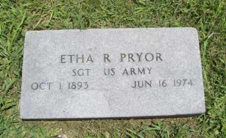 PRYOR (VETERAN WWI), ETHA R. - Benton County, Arkansas | ETHA R. PRYOR (VETERAN WWI) - Arkansas Gravestone Photos