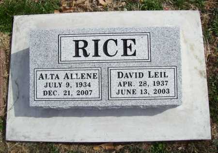 RICE, ALTA ALLENE - Benton County, Arkansas | ALTA ALLENE RICE - Arkansas Gravestone Photos