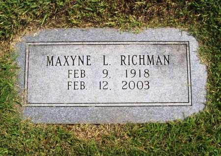 RICHMAN, MAXYNE L. - Benton County, Arkansas | MAXYNE L. RICHMAN - Arkansas Gravestone Photos