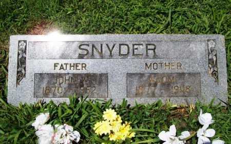 SNYDER, JOHN W. - Benton County, Arkansas | JOHN W. SNYDER - Arkansas Gravestone Photos