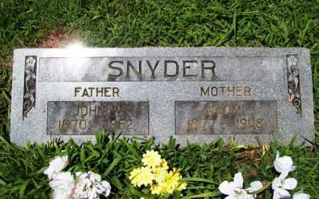 SNYDER, JOHN W. - Benton County, Arkansas | JOHN W. SNYDER - Arkansas Gravestone Photos