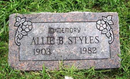 STYLES, ALLIE B. - Benton County, Arkansas   ALLIE B. STYLES - Arkansas Gravestone Photos