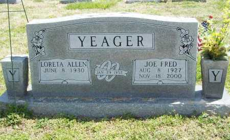 YEAGER, JOE FRED - Benton County, Arkansas | JOE FRED YEAGER - Arkansas Gravestone Photos