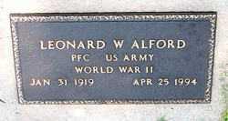 ALFORD  (VETERAN WWII), LEONARD W - Boone County, Arkansas | LEONARD W ALFORD  (VETERAN WWII) - Arkansas Gravestone Photos