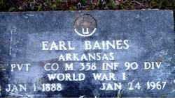 BAINES  (VETERAN WWI), EARL - Boone County, Arkansas | EARL BAINES  (VETERAN WWI) - Arkansas Gravestone Photos