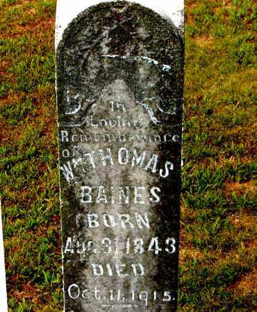 BAINES  (VETERAN CSA), WILLIAM THOMAS - Boone County, Arkansas | WILLIAM THOMAS BAINES  (VETERAN CSA) - Arkansas Gravestone Photos