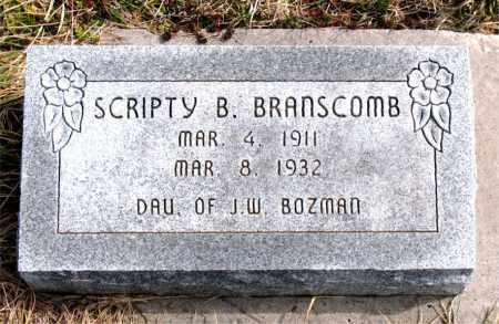 BOZMAN BRANSCOMB, SCRIPTY  B. - Boone County, Arkansas | SCRIPTY  B. BOZMAN BRANSCOMB - Arkansas Gravestone Photos