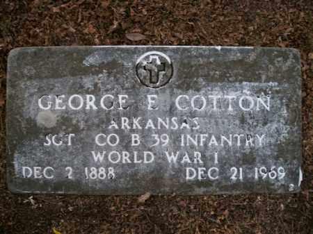 COTTON  (VETERAN WWI), GEORGE E - Boone County, Arkansas   GEORGE E COTTON  (VETERAN WWI) - Arkansas Gravestone Photos