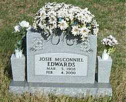 MCCONNIEL EDWARDS, JOSIE - Boone County, Arkansas | JOSIE MCCONNIEL EDWARDS - Arkansas Gravestone Photos