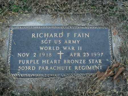 FAIN  (VETERAN WWII), RICHARD F. - Boone County, Arkansas | RICHARD F. FAIN  (VETERAN WWII) - Arkansas Gravestone Photos