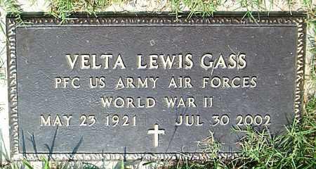 GASS  (VETERAN WWII), VELTA LEWIS - Boone County, Arkansas | VELTA LEWIS GASS  (VETERAN WWII) - Arkansas Gravestone Photos