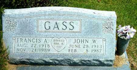 GASS, JOHN W. - Boone County, Arkansas   JOHN W. GASS - Arkansas Gravestone Photos