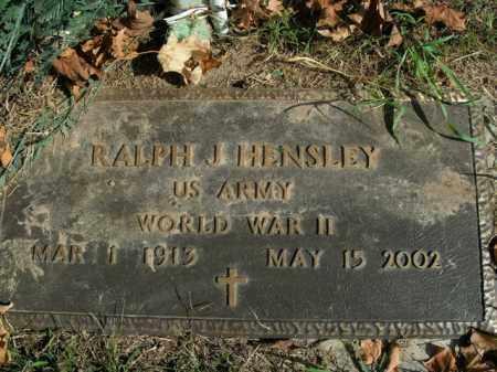 HENSLEY  (VETERAN WWII), RALPH J - Boone County, Arkansas   RALPH J HENSLEY  (VETERAN WWII) - Arkansas Gravestone Photos