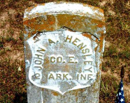 HENSLEY  (VETERAN UNION), JOHN A - Boone County, Arkansas   JOHN A HENSLEY  (VETERAN UNION) - Arkansas Gravestone Photos