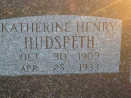 HENRY HUDSPETH, KATHERINE - Boone County, Arkansas   KATHERINE HENRY HUDSPETH - Arkansas Gravestone Photos
