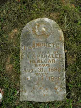 HENEGAR, J. LANDRETH - Boone County, Arkansas | J. LANDRETH HENEGAR - Arkansas Gravestone Photos