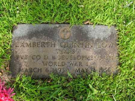 LOW  (VETERAN WWI), LAMBERTH QUINTIN - Boone County, Arkansas | LAMBERTH QUINTIN LOW  (VETERAN WWI) - Arkansas Gravestone Photos