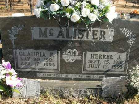 MCALISTER, CLAUDIA F. - Boone County, Arkansas | CLAUDIA F. MCALISTER - Arkansas Gravestone Photos