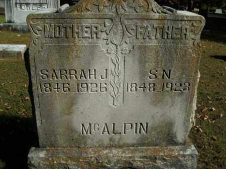 MCALPIN, SARRAH J. - Boone County, Arkansas | SARRAH J. MCALPIN - Arkansas Gravestone Photos