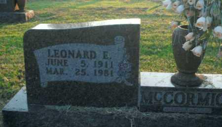 MCCORMICK, LEONARD E. - Boone County, Arkansas   LEONARD E. MCCORMICK - Arkansas Gravestone Photos