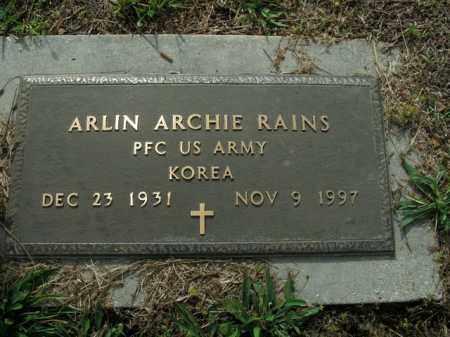 RAINS  (VETERAN KOR), ARLIN ARCHIE - Boone County, Arkansas   ARLIN ARCHIE RAINS  (VETERAN KOR) - Arkansas Gravestone Photos