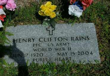 RAINS  (VETERAN WWII), HENRY CLIFTON - Boone County, Arkansas | HENRY CLIFTON RAINS  (VETERAN WWII) - Arkansas Gravestone Photos