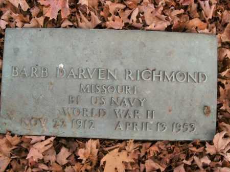 RICHMOND  (VETERAN WWII), BARB DARVEN - Boone County, Arkansas | BARB DARVEN RICHMOND  (VETERAN WWII) - Arkansas Gravestone Photos