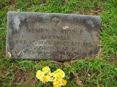 RIDDLE  (VETERAN WWII), HENRY E. - Boone County, Arkansas   HENRY E. RIDDLE  (VETERAN WWII) - Arkansas Gravestone Photos