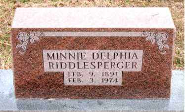 RIDDLESPERGER, MINNIA DELPHIA - Boone County, Arkansas | MINNIA DELPHIA RIDDLESPERGER - Arkansas Gravestone Photos