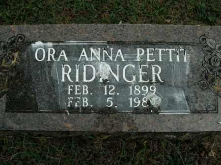 RIDINGER, ORA ANNA - Boone County, Arkansas | ORA ANNA RIDINGER - Arkansas Gravestone Photos
