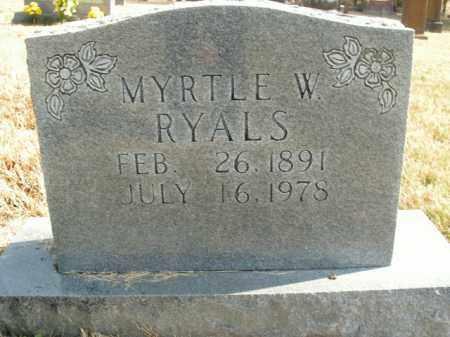 RYALS, MYRTLE W. - Boone County, Arkansas | MYRTLE W. RYALS - Arkansas Gravestone Photos