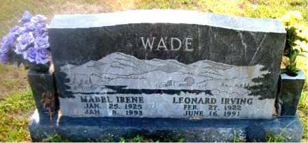 WADE, LEONARD IRVING - Boone County, Arkansas   LEONARD IRVING WADE - Arkansas Gravestone Photos