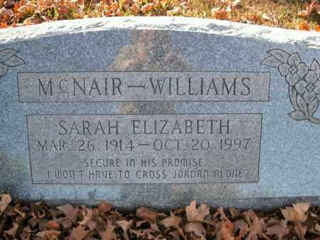 MCNAIR WILLIAMS, SARAH ELIZABETH - Boone County, Arkansas | SARAH ELIZABETH MCNAIR WILLIAMS - Arkansas Gravestone Photos