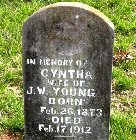 YOUNG, CYNTHA - Boone County, Arkansas   CYNTHA YOUNG - Arkansas Gravestone Photos