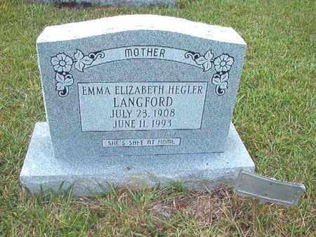 HEGLER LANGFORD, EMMA ELIZABETH - Calhoun County, Arkansas | EMMA ELIZABETH HEGLER LANGFORD - Arkansas Gravestone Photos