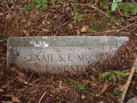 MCCOY LANGSTON, EXAH S E - Calhoun County, Arkansas | EXAH S E MCCOY LANGSTON - Arkansas Gravestone Photos
