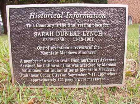 DUNLAP LYNCH, SARAH - Calhoun County, Arkansas | SARAH DUNLAP LYNCH - Arkansas Gravestone Photos