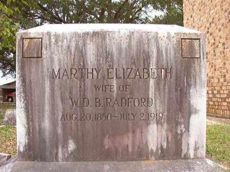 RADFORD, MARTHY ELIZABETH - Calhoun County, Arkansas   MARTHY ELIZABETH RADFORD - Arkansas Gravestone Photos
