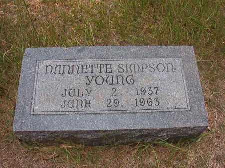 SIMPSON YOUNG, NANNETTE - Calhoun County, Arkansas | NANNETTE SIMPSON YOUNG - Arkansas Gravestone Photos