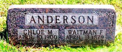 ANDERSON, WAITMAN F - Carroll County, Arkansas | WAITMAN F ANDERSON - Arkansas Gravestone Photos