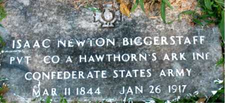 BIGGERSTAFF (VETERAN CSA), ISAAC NEWTON - Carroll County, Arkansas | ISAAC NEWTON BIGGERSTAFF (VETERAN CSA) - Arkansas Gravestone Photos