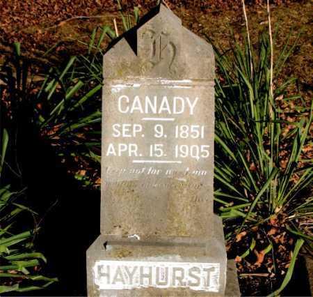 HAYHURST, CANADY - Carroll County, Arkansas   CANADY HAYHURST - Arkansas Gravestone Photos