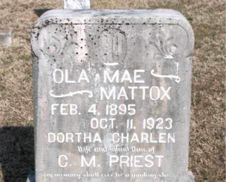 MATTOX PRIEST, OLA MAE - Carroll County, Arkansas | OLA MAE MATTOX PRIEST - Arkansas Gravestone Photos