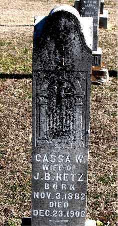 METZ, CASSA W - Carroll County, Arkansas   CASSA W METZ - Arkansas Gravestone Photos