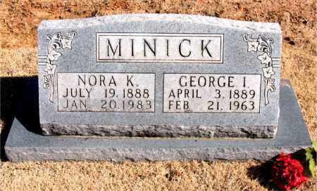 MINICK, GEORGE  I. - Carroll County, Arkansas   GEORGE  I. MINICK - Arkansas Gravestone Photos